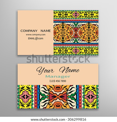 Business card template, decorative ornamental invitation collection. Hand drawn Islam, Arabic, Indian pattern - stock vector