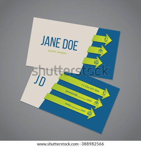 Business card template design with cool arrow ribbons