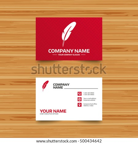 Business card template feather sign icon stock vector 500434642 business card template feather sign icon retro pen symbol light weight symbol colourmoves