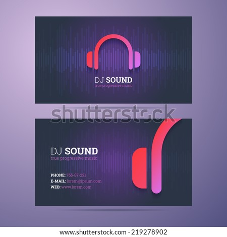 Business card template for DJ and music business with headphones icon. - stock vector