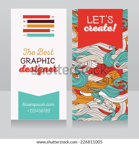 Business card template graphic designer creative stock vector business card template for graphic designer or creative agency vector illustration reheart Gallery