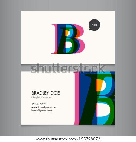 Business card template, letter B - stock vector