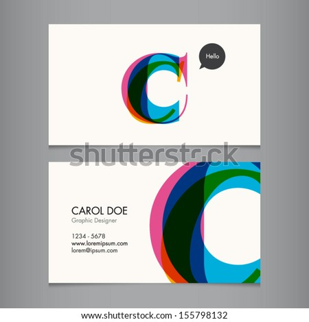 Business card template, letter C - stock vector