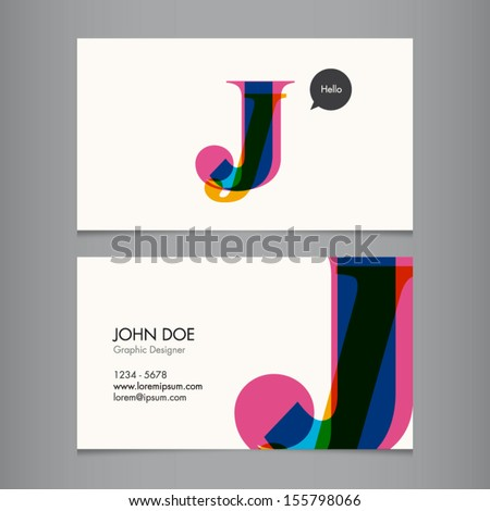 Business card template, letter J - stock vector