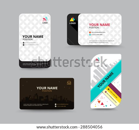 Business card template. name card design for business. include sample text layout. vector illustration. - stock vector