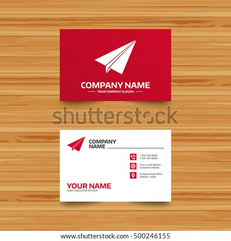 Business Card Template Paper Plane Sign Stock Vector - Business card template paper
