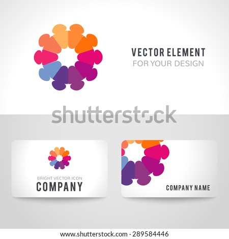 Business card template set. Abstract bright colorful communication logotype. Vector illustration for company employees unity diversity. - stock vector