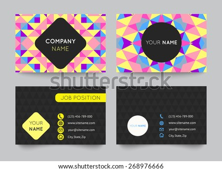 Business card template set, abstract colorful geometric background. Vector illustration for modern design. With pattern is composition of triangle and square. Pink, yellow, blue and purple color. - stock vector
