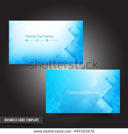 Business Card template set 56 Dark light blue and basic geometry element  vector illustration eps10 - stock vector