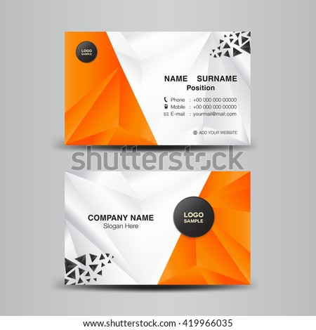 Business Card Template Vector Illustration Orange Stock Vector - Name card template