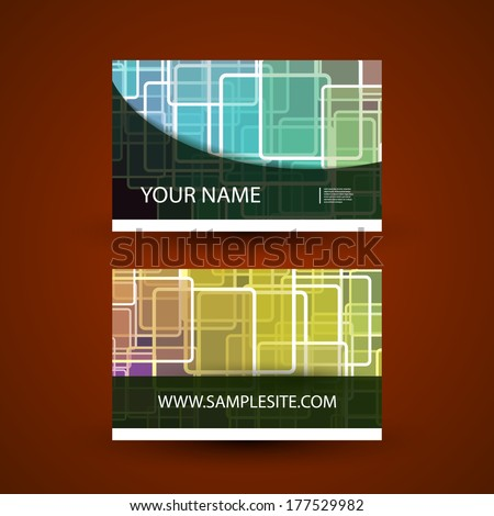 Business Card Template with Colorful Abstract Pattern