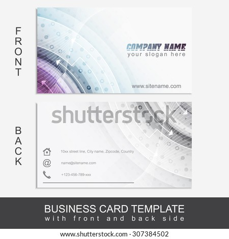 Floral horizontal business card templatedesign personal for Front and back business card template