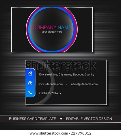 Business card template with front and back side/editable vector design