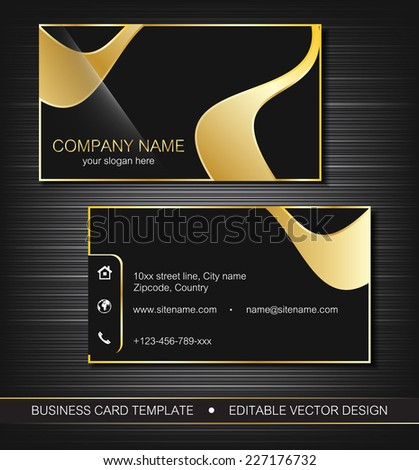 Business card template gold lines front stock vector 227176732 business card template with gold lines front and back side vector illustration reheart Choice Image
