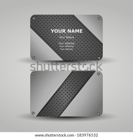 Business Card Template with Metallic Pattern Design - stock vector
