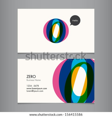 Business card template with number zero - stock vector