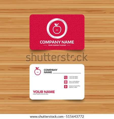 Business card template texture apple sign stock vector 2018 business card template with texture apple sign icon fruit with leaf symbol phone flashek Choice Image