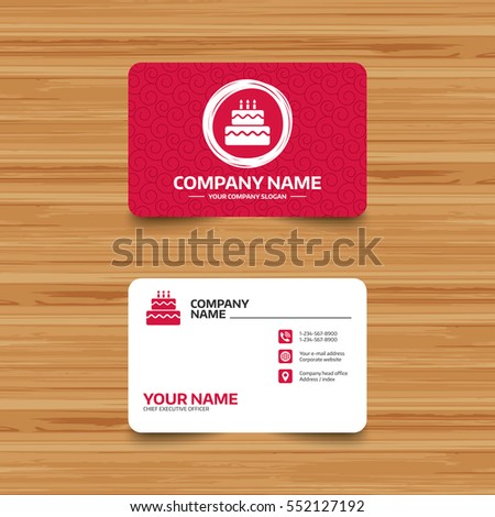 Business card template texture birthday cake stock vector hd business card template with texture birthday cake sign icon cake with burning candles symbol cheaphphosting Gallery