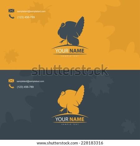 Business card template with turkey bird symbol - vector illustration - stock vector