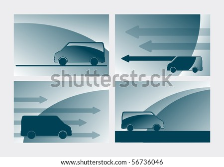 business card templates with arrows and truck - stock vector