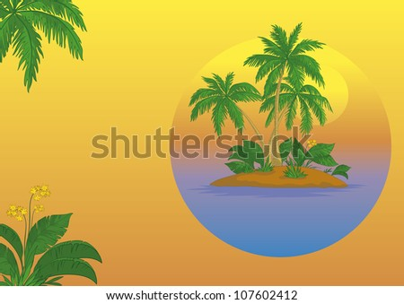 Business card, tropical sea island with palm trees and flowers. Vector - stock vector