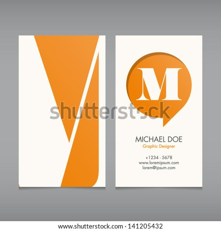 Business card vector template, alphabet letter, text color editable. Font, type, typography retro vintage new style. Ideal for independent worker, company, shop, restaurant... - stock vector