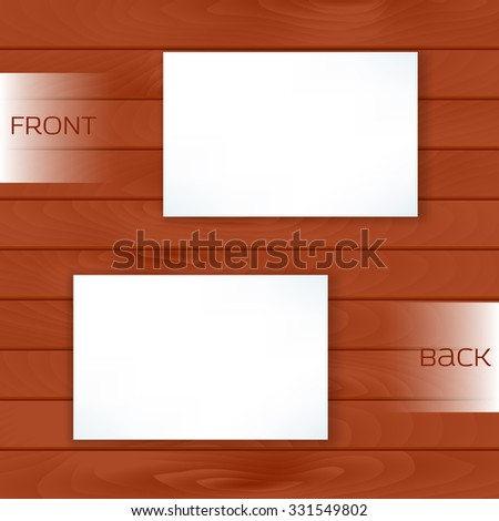 Business card vector template on wooden background. Vector illustration for branding. Mock-up for your design.