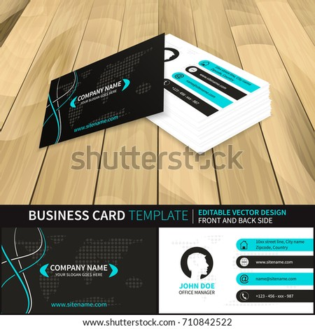 Business card vector template world map stock vector 710842522 business card vector template with world map and contact information editable design with front and publicscrutiny