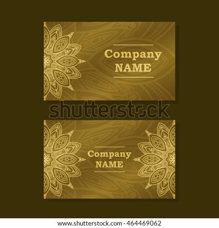 Business Card Vintage Decorative Elements Hand Drawn Mandala Background