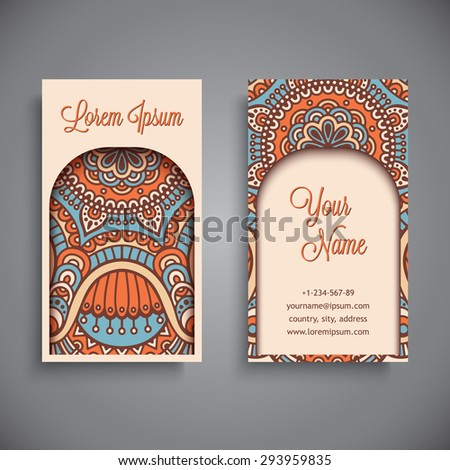 Business card vintage decorative elements ornamental stock vector business card vintage decorative elements ornamental floral business cards oriental pattern vector junglespirit Image collections