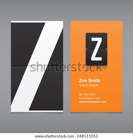 Business card with a letter logo, alphabet letter Z - stock vector