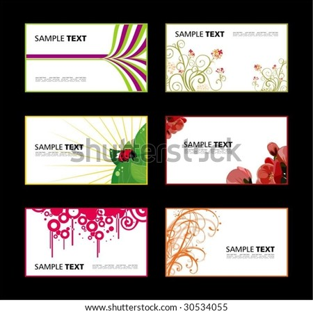 Business card with abstract, grunge and plant pattern - stock vector