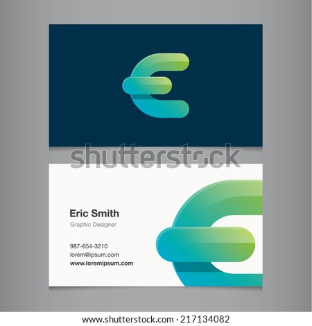 Business card with alphabet letter e. - stock vector