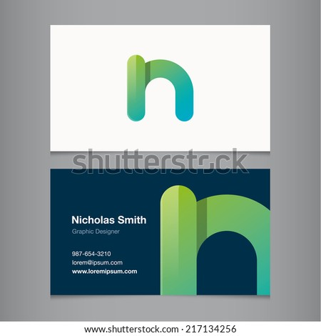 Business card with alphabet letter n. - stock vector