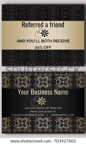 Business Card Black Gold Discount Coupon Stock Vector - Business loyalty card template
