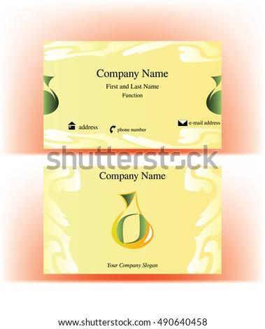 business card drop shaped logo resembling stock vector 490640458