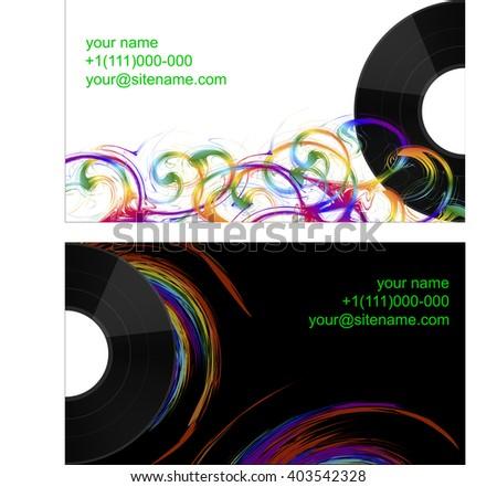 business card half vinyl record abstract stock vector 403542328