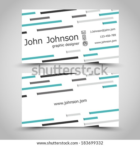 business card with small turquoise stripes. office concept - stock vector