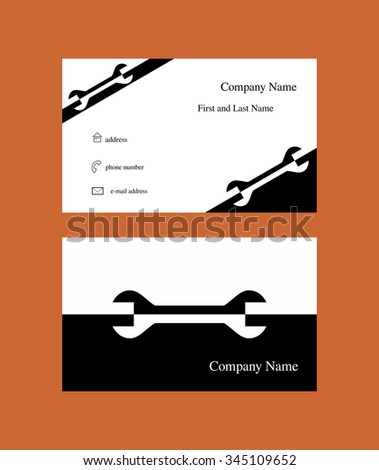 Business card with spanner design