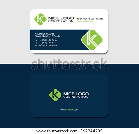 Business card letter k green color stock vector 569244205 shutterstock business card with the letter k green color dark blue backside colourmoves