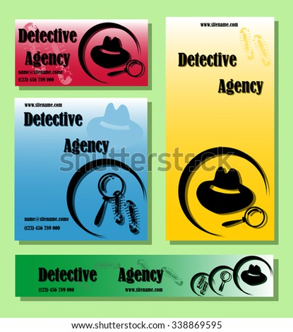 Business cards collection detective clipart set stock photo photo business cards collection detective clip art set in a flat style colourmoves