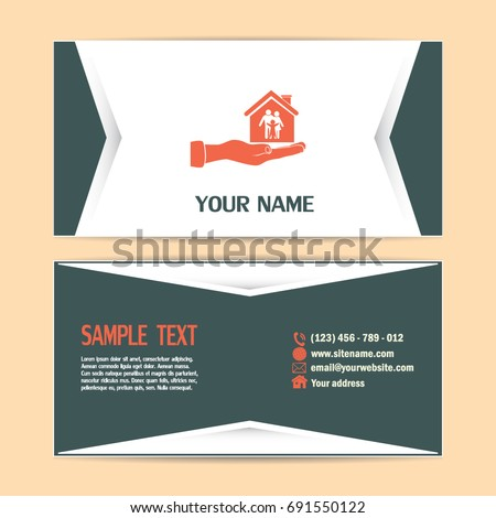 Business cards design concept illustration safety stock vector business cards design concept illustration of safety of house and family family house in colourmoves
