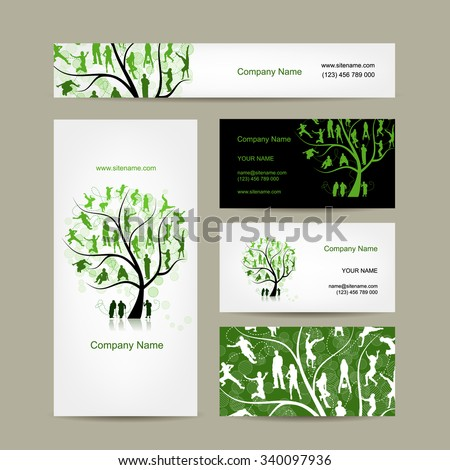 Business cards design, family tree. Vector illustration