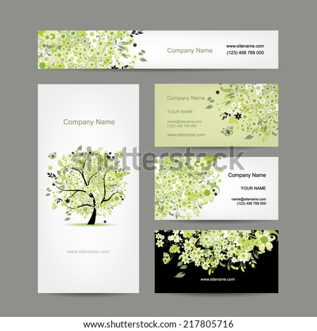 Business cards design, spring tree floral - stock vector