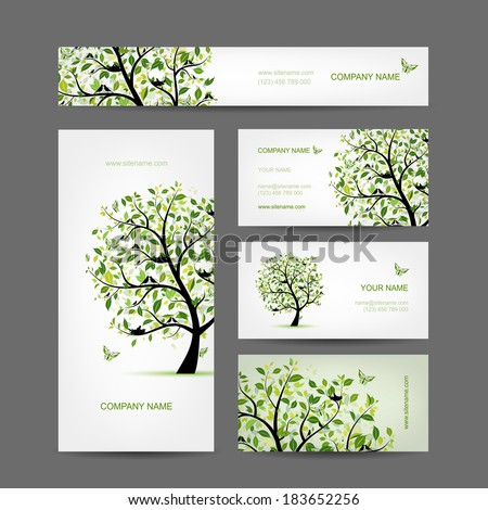 Business cards design, spring tree with birds - stock vector
