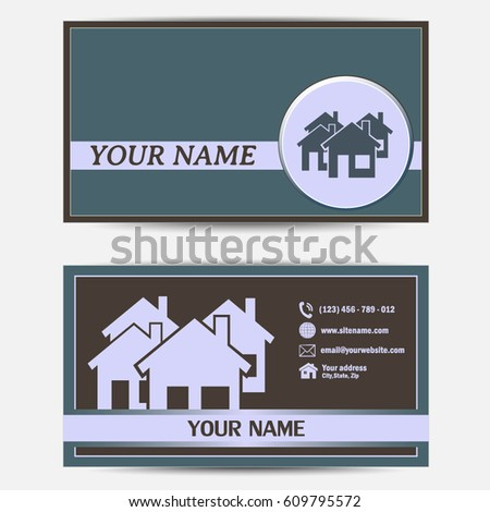 Business cards design vector illustration group stock vector business cards design vector illustration with group of cottages abstract sign of real estate reheart Image collections