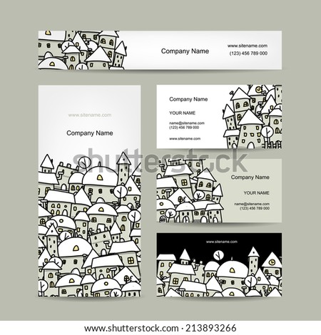 Business cards design, winter cityscape sketch - stock vector