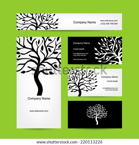 Business cards design with abstract tree silhouette - stock vector