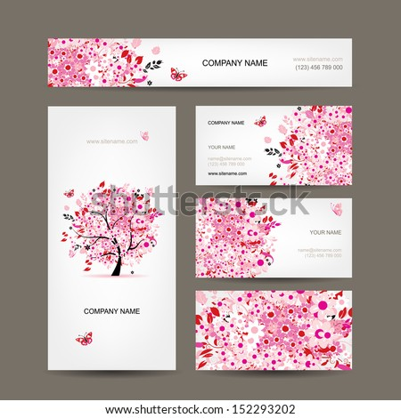 Business cards design with floral tree pink - stock vector