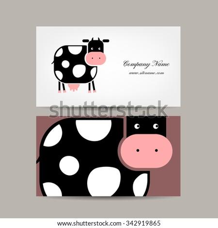 Business cards design funny cow vector stock vector 342919865 business cards design with funny cow vector illustration colourmoves